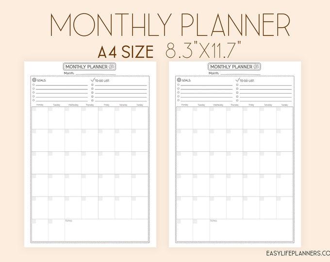 Monthly Planner Printable, DIY planner Binder Inserts Mo1p
