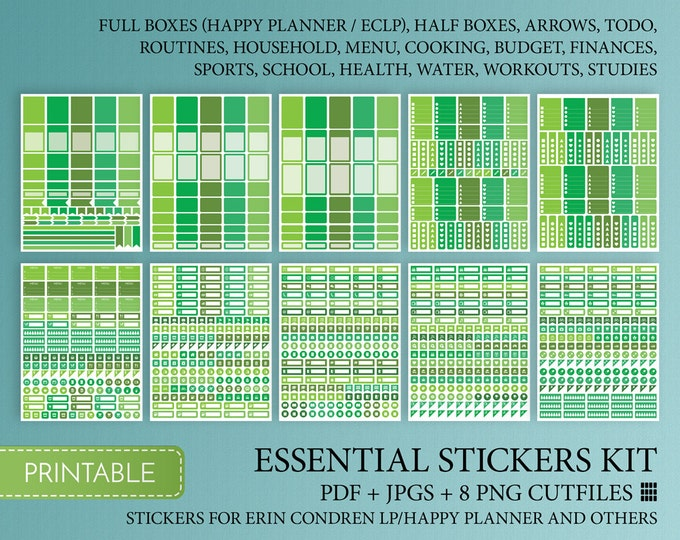 Full Box Planner Stickers Printable Happy Planner Quarter Boxes Halfboxes Cutfile Green Stickers  Instant Download. Inspired By Erin Condren