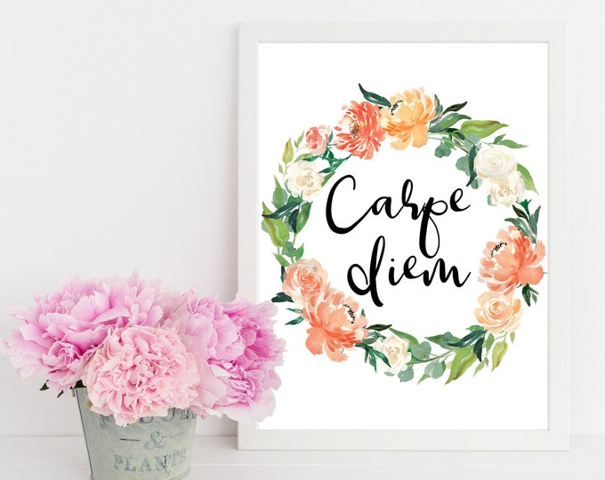 Carpe Diem Wall Art, Printable Art, Quote Posters, Wall Prints, Dorm Decor,  Kitchen print, Watercolor Print, Home decor, Digital print