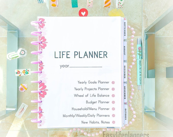 Featured listing image: Life Planner 2019 Printable Planner Pages, Daily Planner Inserts, 8.5 x 11