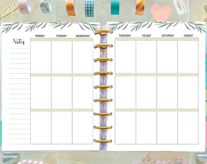 Weekly Agenda made to fit Happy Planner Weekly Inserts and Erin Condren Insert
