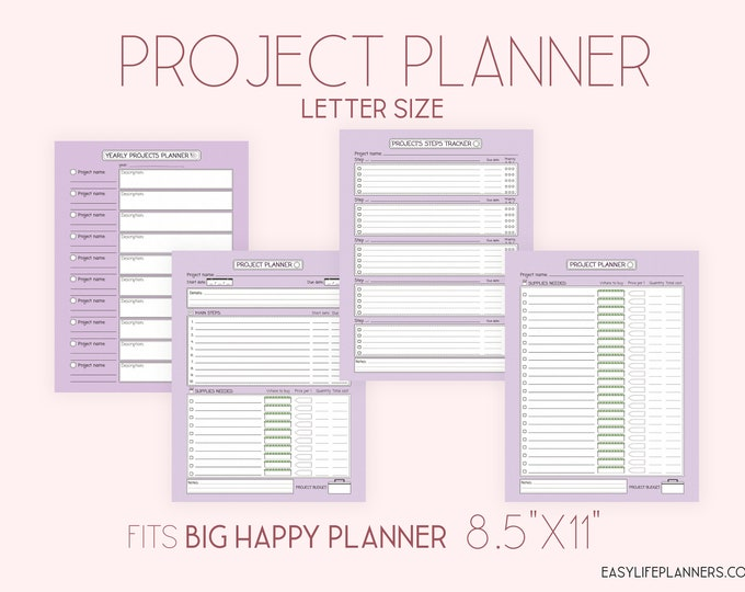 Project Planner Big Happy Planner Printable 8.5 x 11 Purple Planner Letter Size