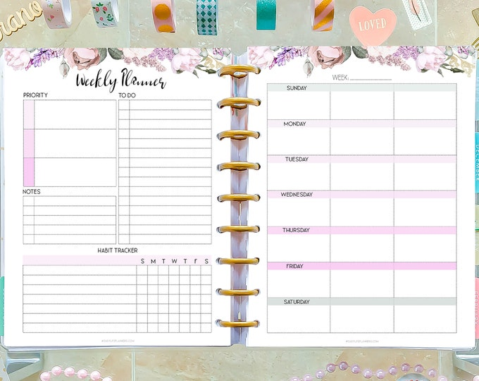 Weekly Planner Pages made to fit Classic Happy Planner Inserts and Erin Condren Inserts