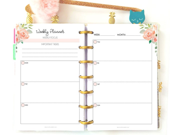 Week on Two Pages Printable, Weekly Planner Pages, fits Mini Happy Planner, WO2P