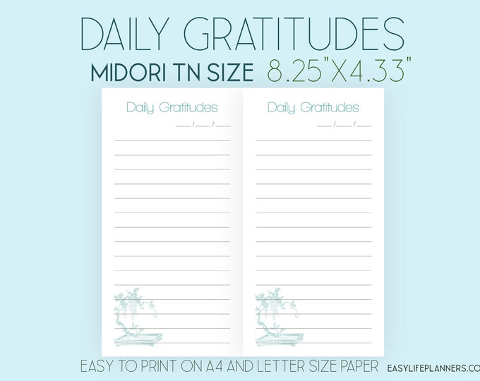 Midori Printable Insert Traveler's Notebook Daily Gratitudes Insert With Cutlines Regular Size Midori Inserts Foxy Dori Instant Download