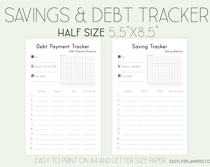 Savings Tracker, Debt Payment Tracker, Half Size Planner, Budget Planner Printable