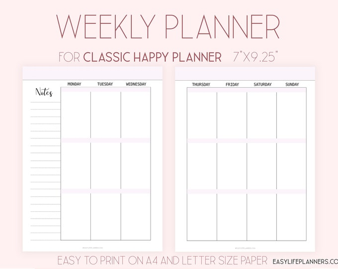 Weekly Planner Pages Printable To Do List, made to fit Happy Planner Inserts WO2P