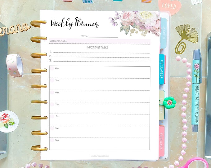 Weekly Planner Pages, Weekly Agenda, Family Organizer made to fit Classic Happy Planner Inserts