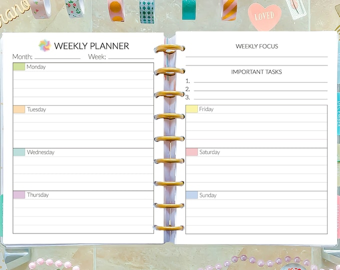 Lined Weekly Planner Pages, made to fit Happy Planner Printable Inserts and Erin Condren Inserts.
