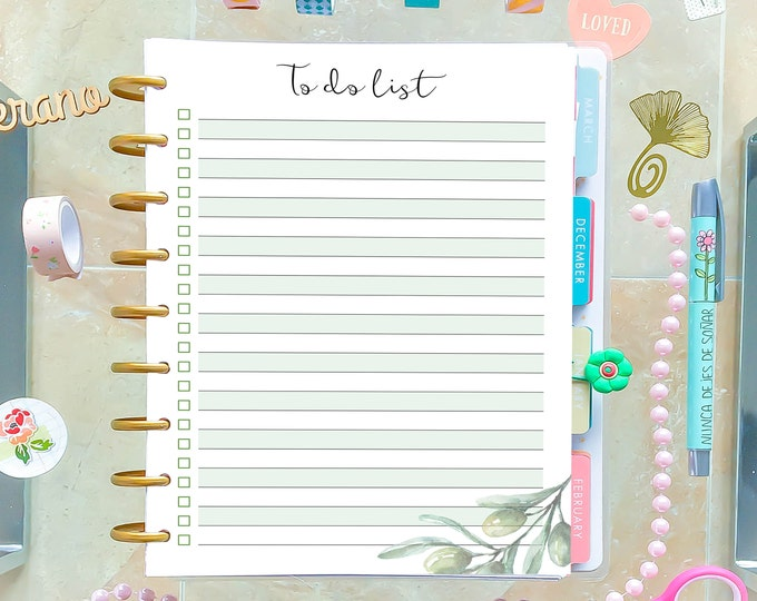 To Do List Printable, made to fit Happy Planner Refills and Erin Condren Insert