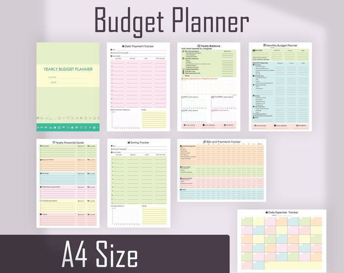 Financial Planner, Monthly Budget Planner, A4 Binder Inserts, Printable Planner