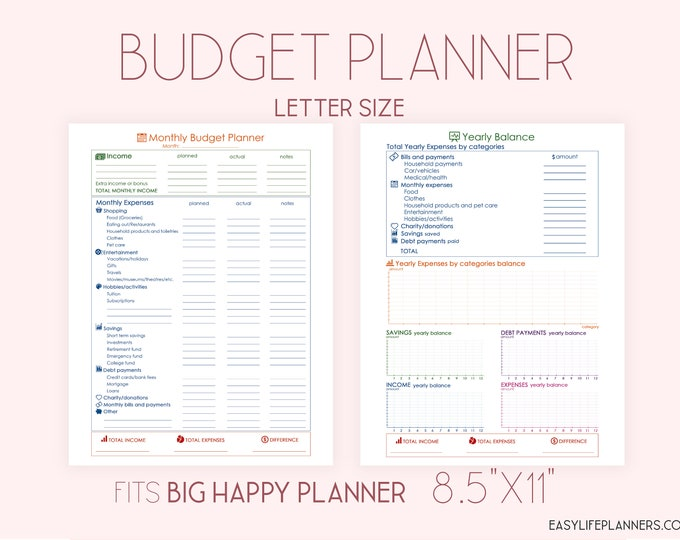 Budget Planner Printable, Financial Goals Planner made to fit Big Happy Planner Pages