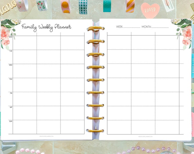 Family Organizer, made to fit Happy Planner Inserts Printable WO2P