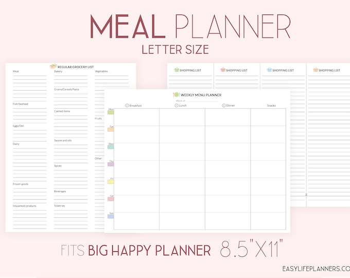 Weekly Meal Planner, Food Journal, made to fit Big Happy Planner Inserts Printable