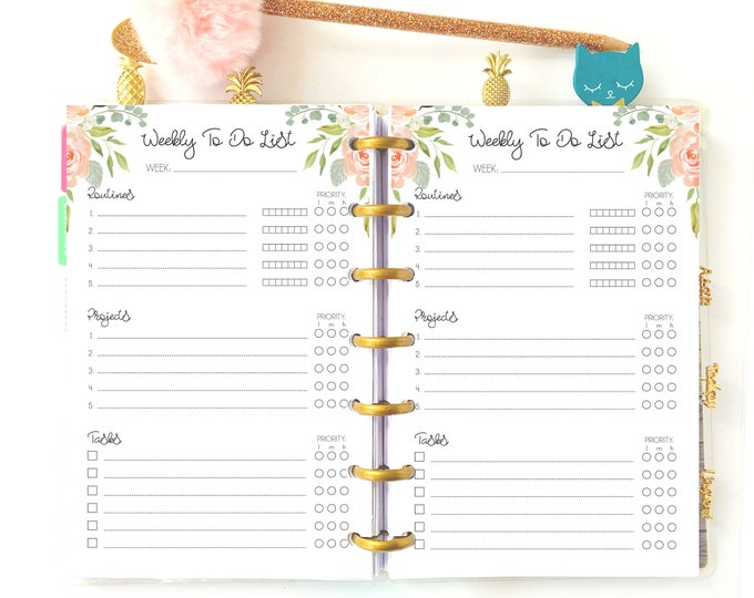 Weekly Tasks for Mini Happy Planner Weekly To Do List Printable