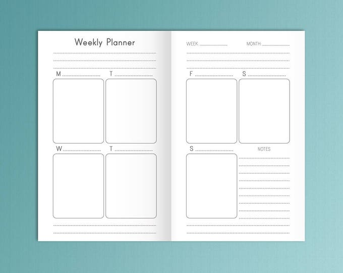 Weekly Planner Bullet Journal Field Notes TN Pocket Size Inserts Vertical Box Layout Weekly Spread Printable Traveler's Notebook Inserts PDF