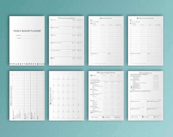 Budget Planner A4 Printable Planner Financial Planner Expenses Tracker Printable Finance Binder Debt Tracker PDF Instant Download