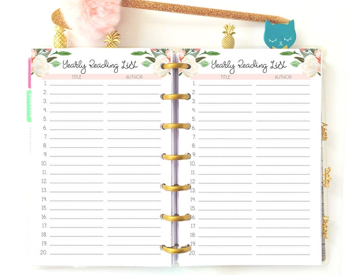 Reading Journal Printable, Books To Read Planner for Mini Happy Planner Inserts,