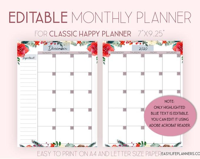 2020 Monthly Planner, Editable Planner, Monthly Layout made to fit Happy Planner 2020 Printable