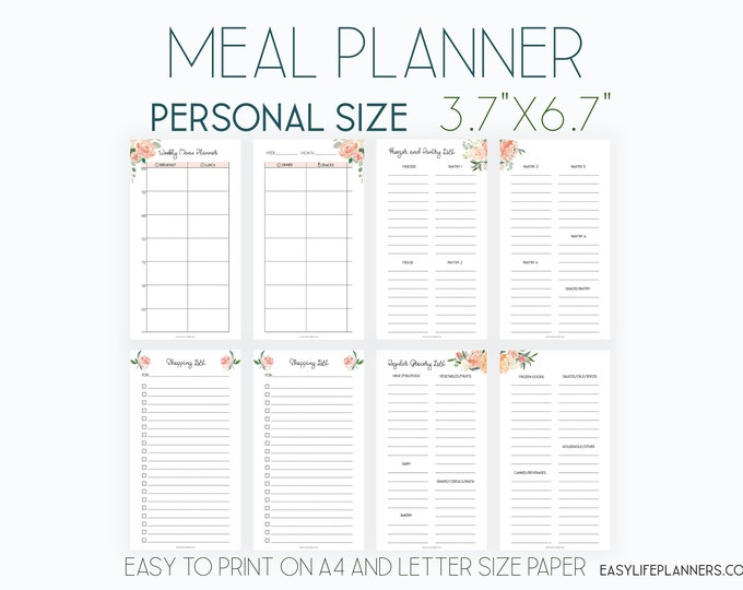 Weekly Meal Plan, Personal Size Planner Inserts, Meal Planner Printable
