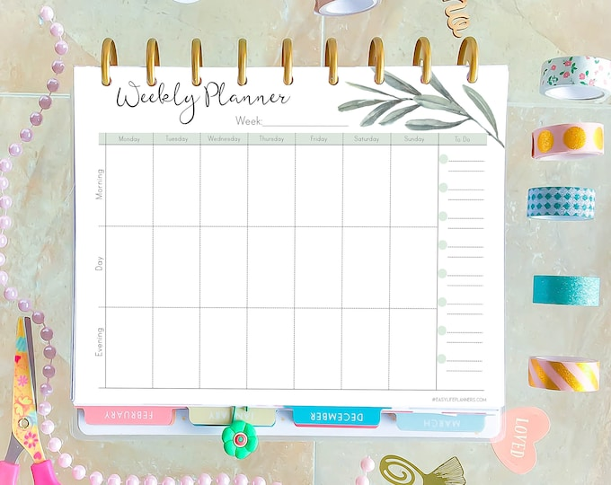 Weekly Agenda, Made to fit Happy Planner Inserts Printable, Weekly Planner Pages