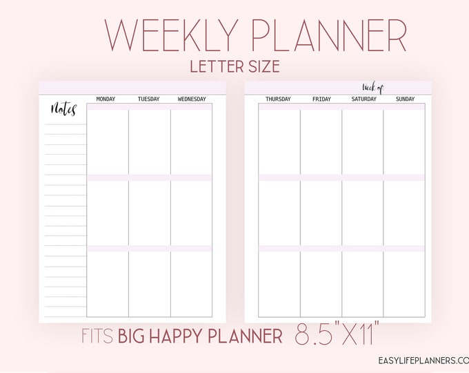 Weekly Planner Pages Wo2p Full Box Planner made to fit Big Happy Planner Inserts Printable