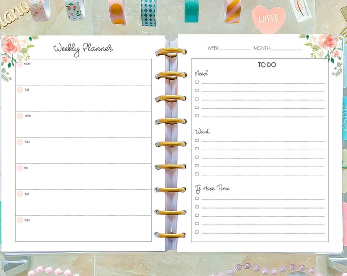 Weekly Planner Printable To Do List made to fit Happy Planner 2020 Weekly Agenda