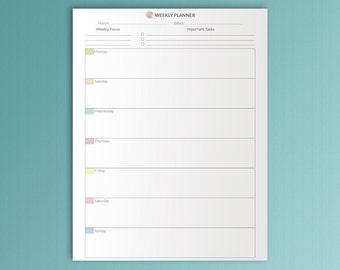 weekly vertical planner printable pdf a4 undated red weekly etsy