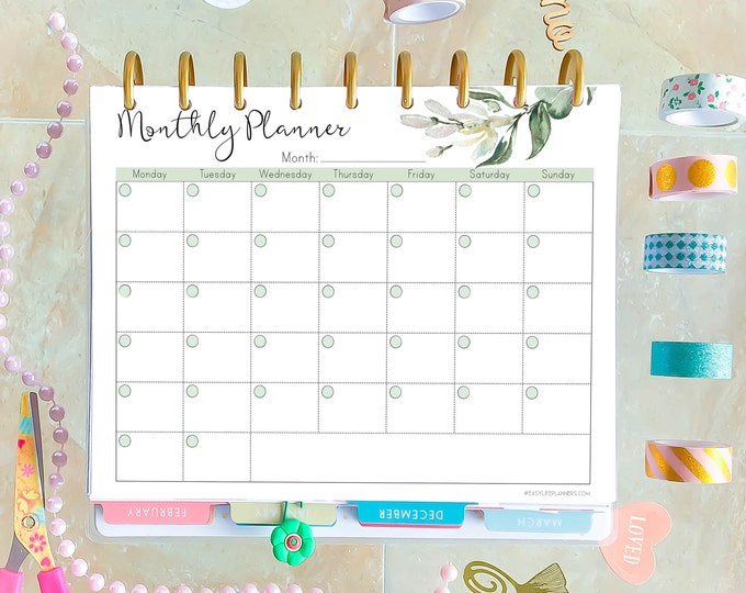 Monthly Planner Printable, Made to fit Happy Planner Monthly Calendar, MO1P