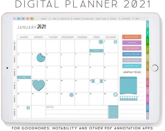 Digital Planner for Goodnotes Planner, Notability Planner, Ipad Planner Dated Daily Planner 2021.