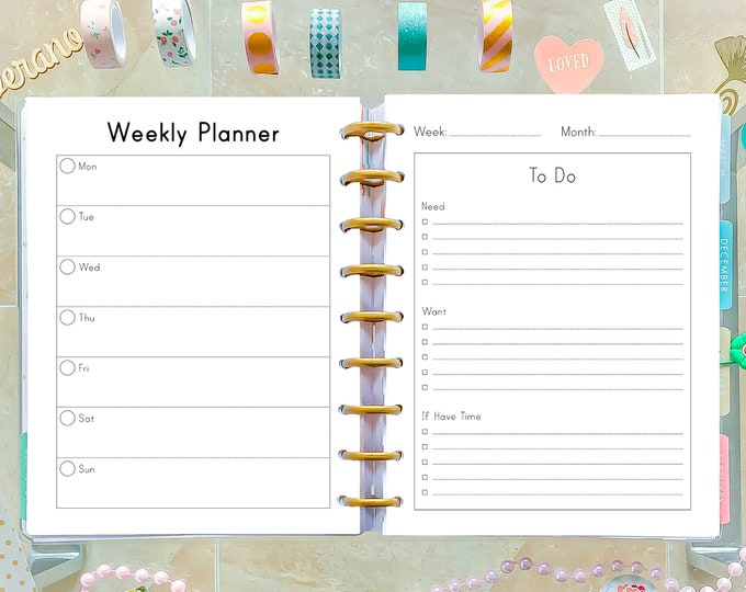 Weekly Planner Pages made to fit Happy Planner Insert, Weekly Agenda, Week On To Pages