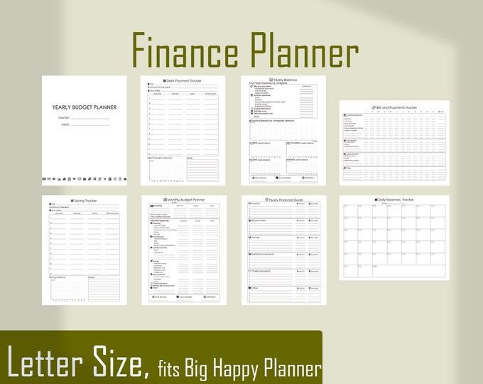 Financial Planner Big Happy Planner Budget, Printable Letter Size Planner, savings tracker