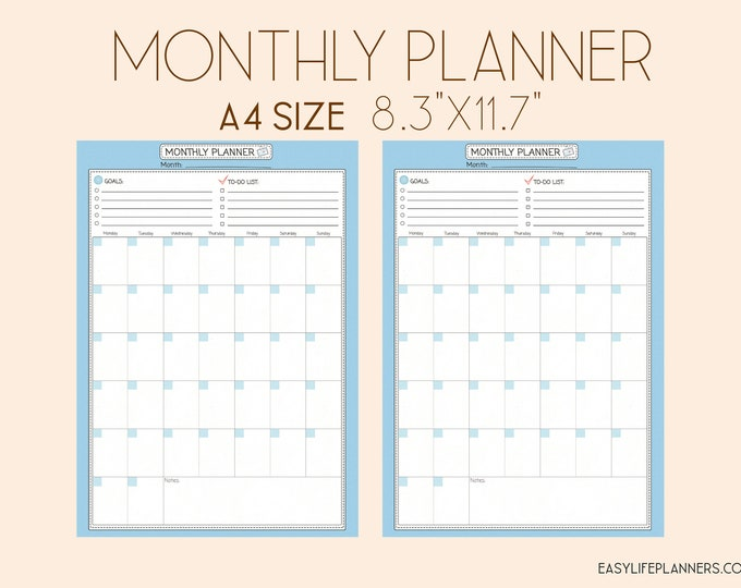 Monthly to do list, Binder Inserts, DIY Planner, Monthly planner Printable Agenda MO2P