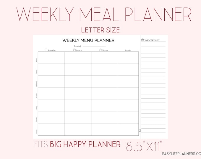 Weekly Meal Planner, Weekly Menu Planner, Food Tracker, Big happy Planner Inserts