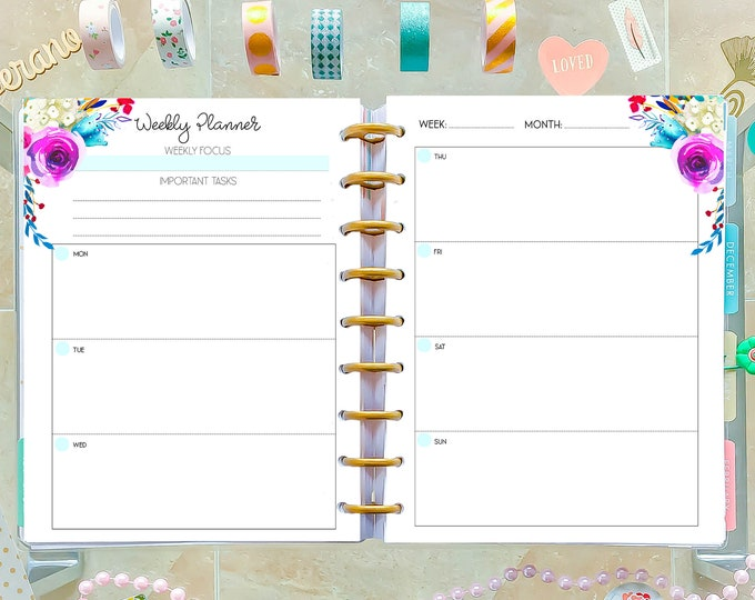 Weekly Inserts made to fit Classic Happy Planner Inserts Printable, 7x9 Planner Weekly Planner Pages