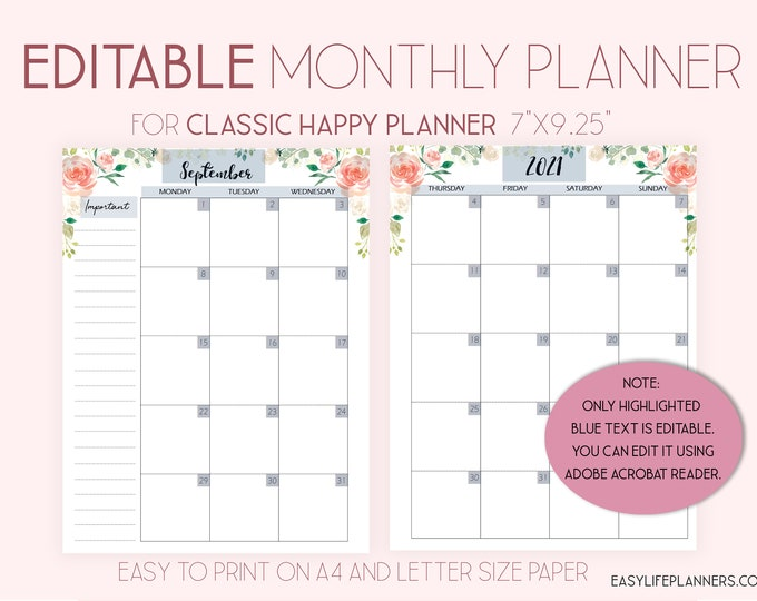 2020 Monthly Planner Pages, Editable Planner Mo2P, Monthly Layout made to fit Happy Planner Template