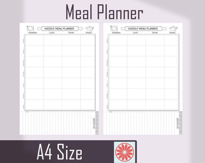Menu Planner Printable Binder Inserts, Meal Planner, Shopping List, Food Tracker.