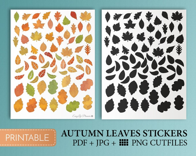 Fall Stickers Leaf Autumn Leaves Stickers Planner Stickers Fall Printable Sticker happy planner stickers kit