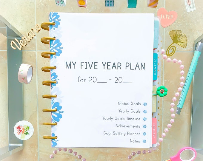 Happy Planner Inserts Five YEAR Planner Printable Self development Yearly Planner Goal Planner 2021 Made to fit Erin Condren Goal setting