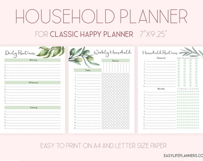 Household Binder, Cleaning List made to fit Happy Planner Printable Insert