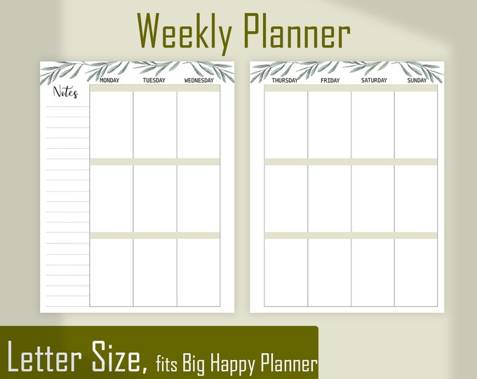 Weekly Agenda, Weekly Planner Pages made to fit Big Happy Planner Inserts Printable