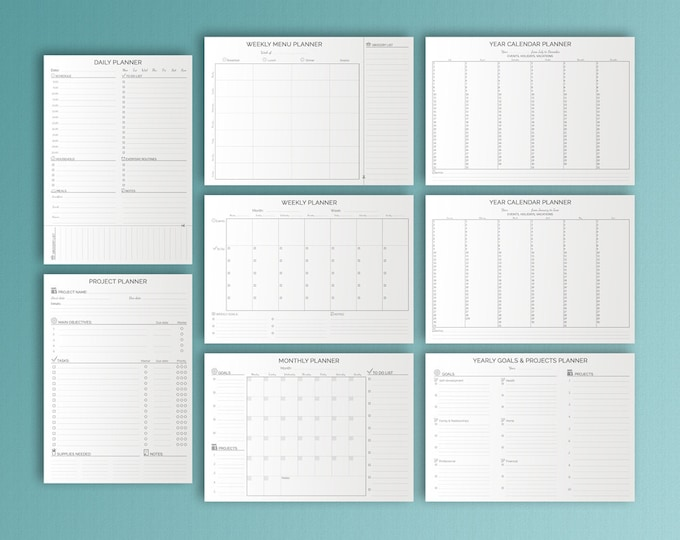 LIFE PLANNER KIT Printable Black and White A4. Household Organizer Binder Inserts Daily, Weekly, Monthly, Project, Menu Agenda. 9 files.