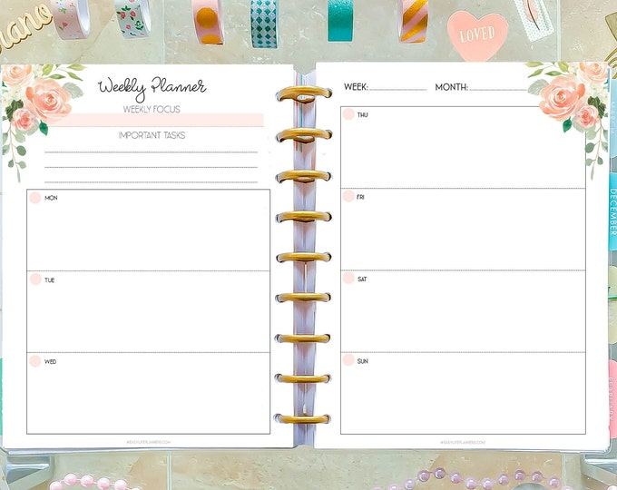 Weekly Planner Pages made to fit Classic Happy Planner Inserts Printable, 7x9 Planner Weekly Agenda