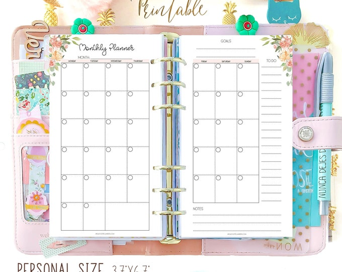Monthly Planner 2020, Filofax Personal Refills, Month On Two Pages, Personal Size Planner Inserts Printable