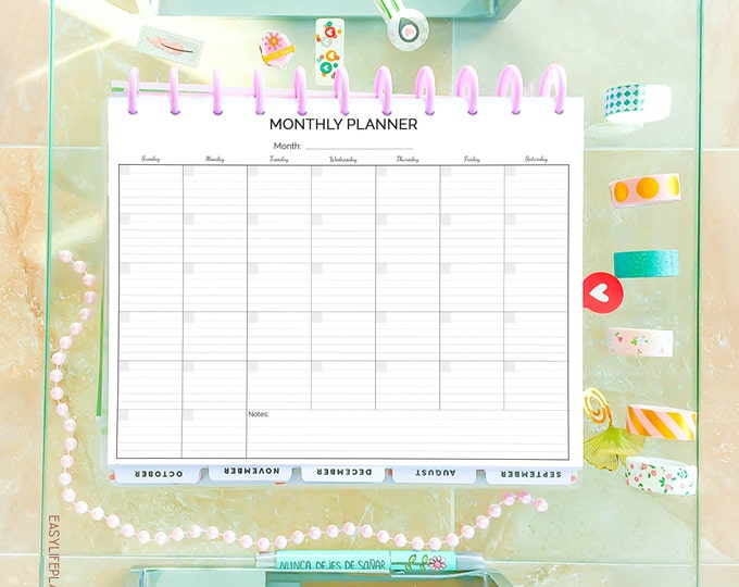 Monthly Planner 2020, Big Happy Planner, Printable,  Letter Size Planner,
