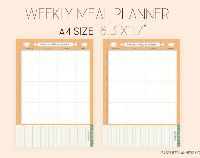 Weekly Meal Planner, Printable PDF, Shopping List, Binder Inserts A4, Menu Planner