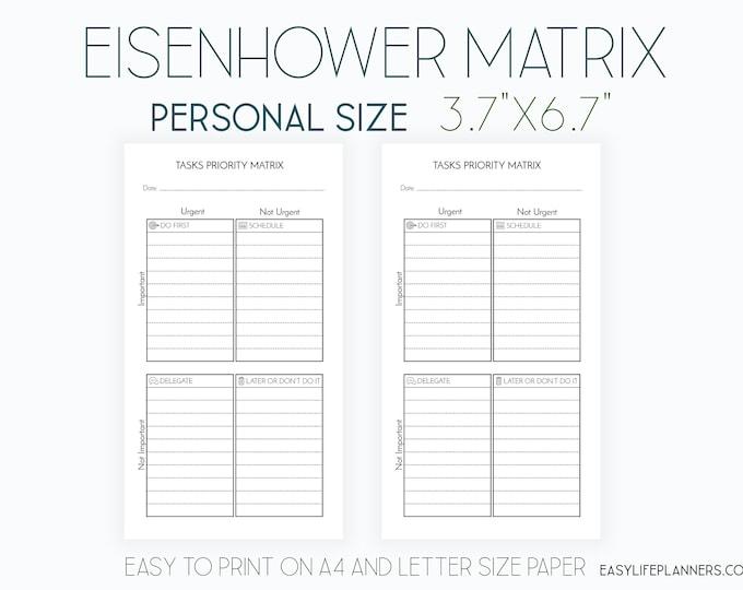Printable Planner Task Priority Matrix Filofax Personal Planner Filofax Inserts agenda planner Printable Decision Eisenhower Matrix