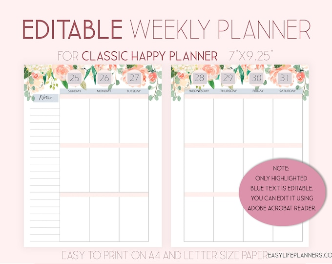2020 Weekly Planner Pages Editable Planner, made to fit Happy Planner Template