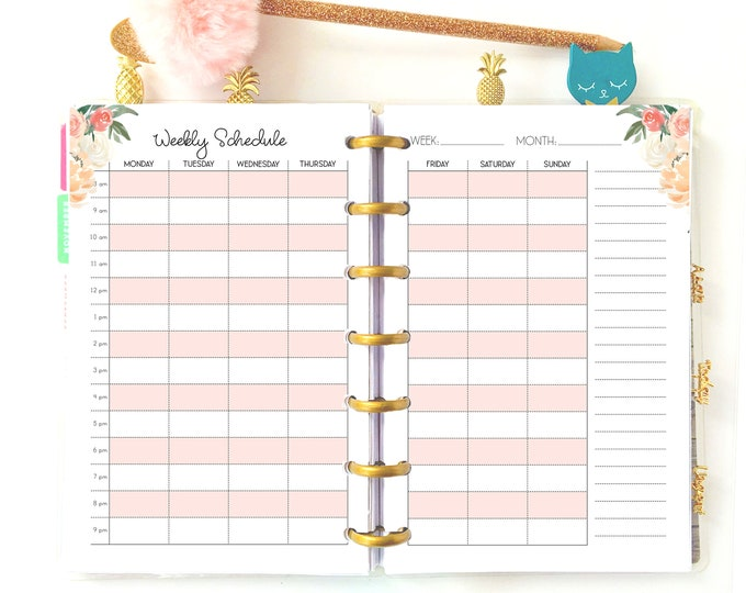 Weekly Schedule, Hourly Planner, Mini Happy Planner Printable