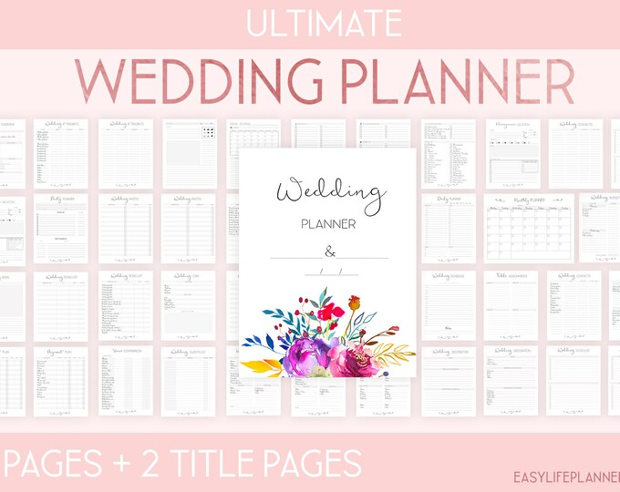 Featured listing image: Wedding Planner Printable, Wedding Organizer, Wedding Binder, Wedding Checklist, wedding seating plan